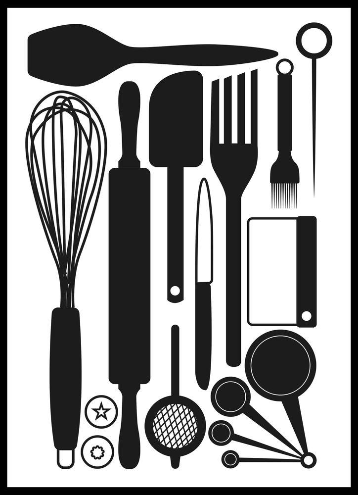 Köksredskap svart & vit poster