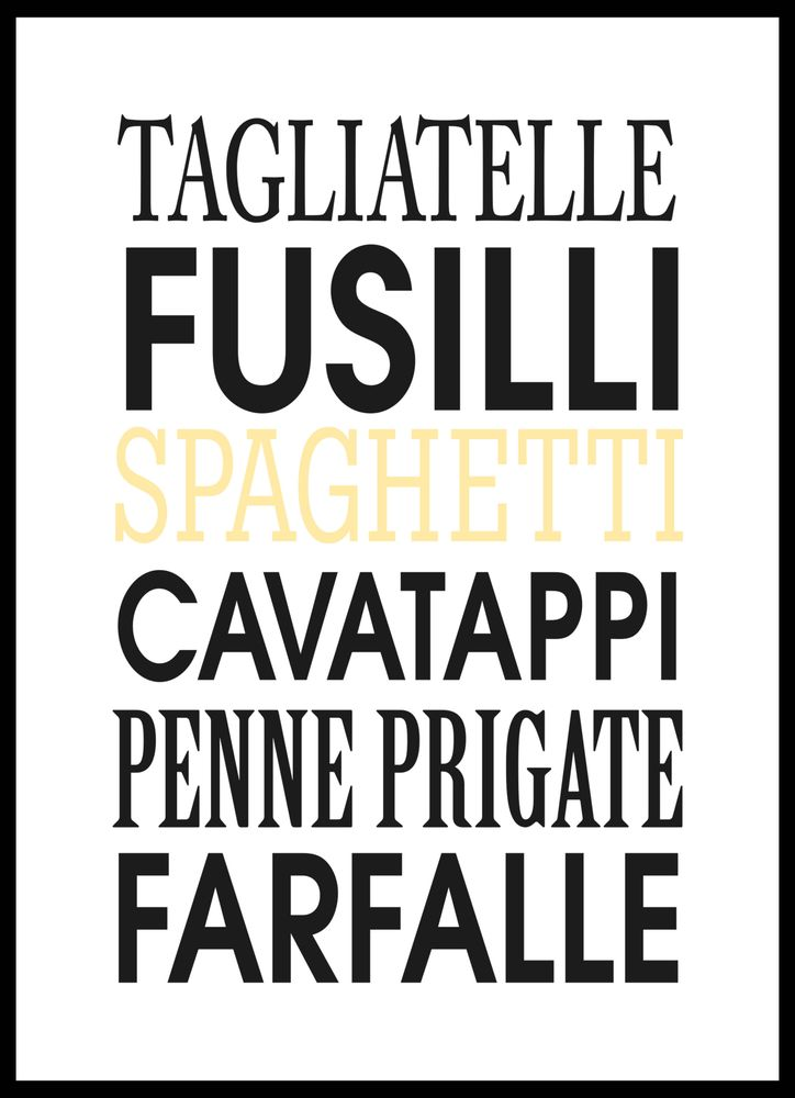 Varieties of pasta text poster