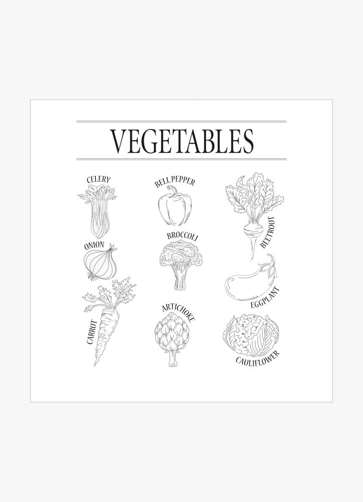 Vegetables black & white poster