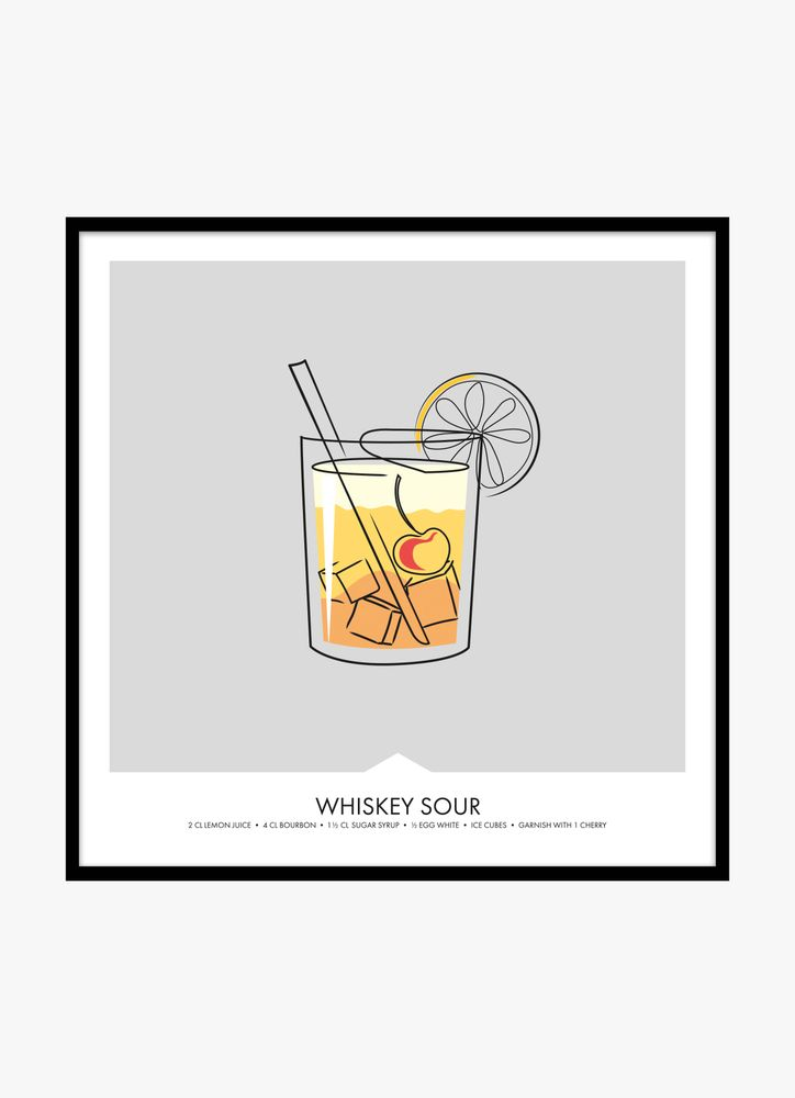 Whiskey sour drink poster