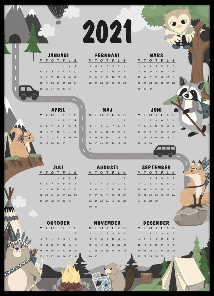 Vilda djur kalender poster