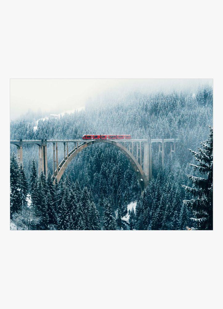 Vinter tåg landskap poster