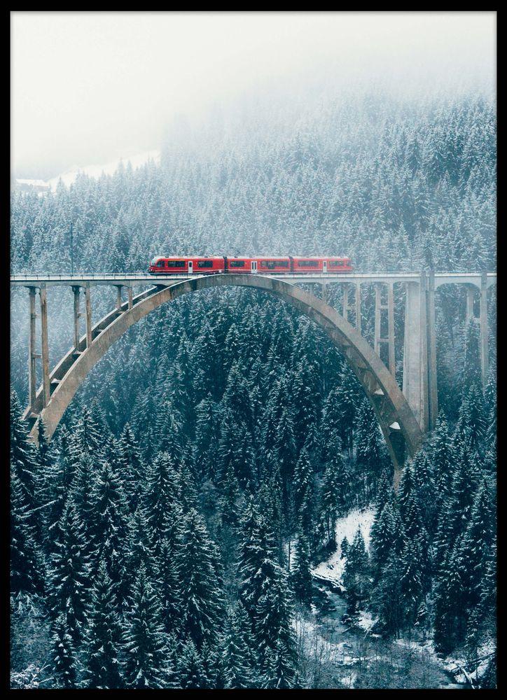 Vinter tåg över bro poster