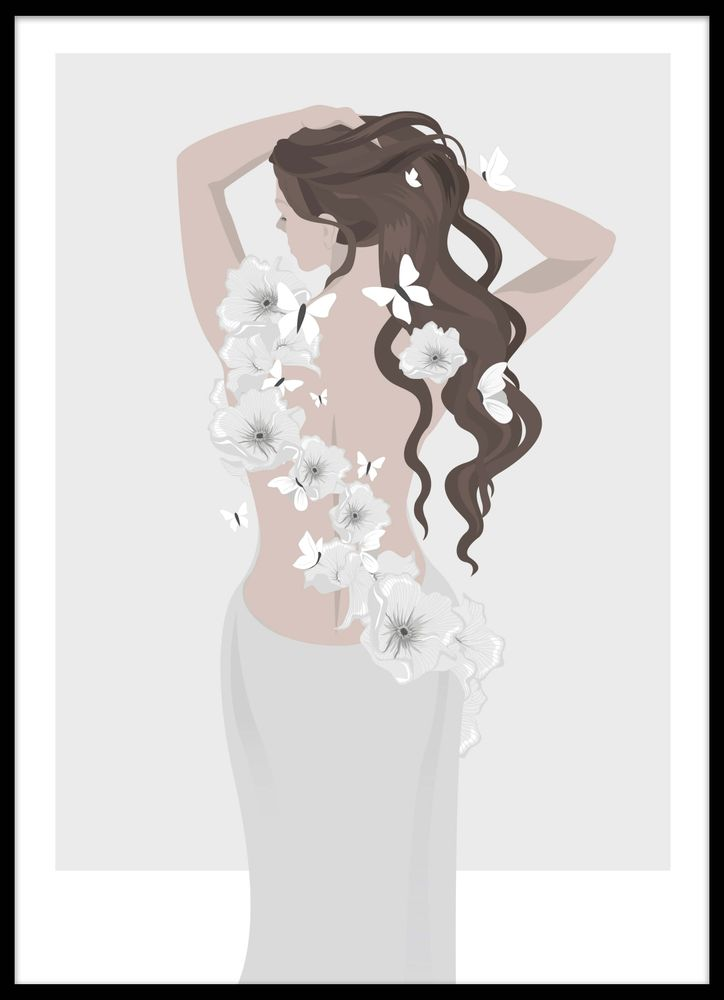 Woman back with flowers poster