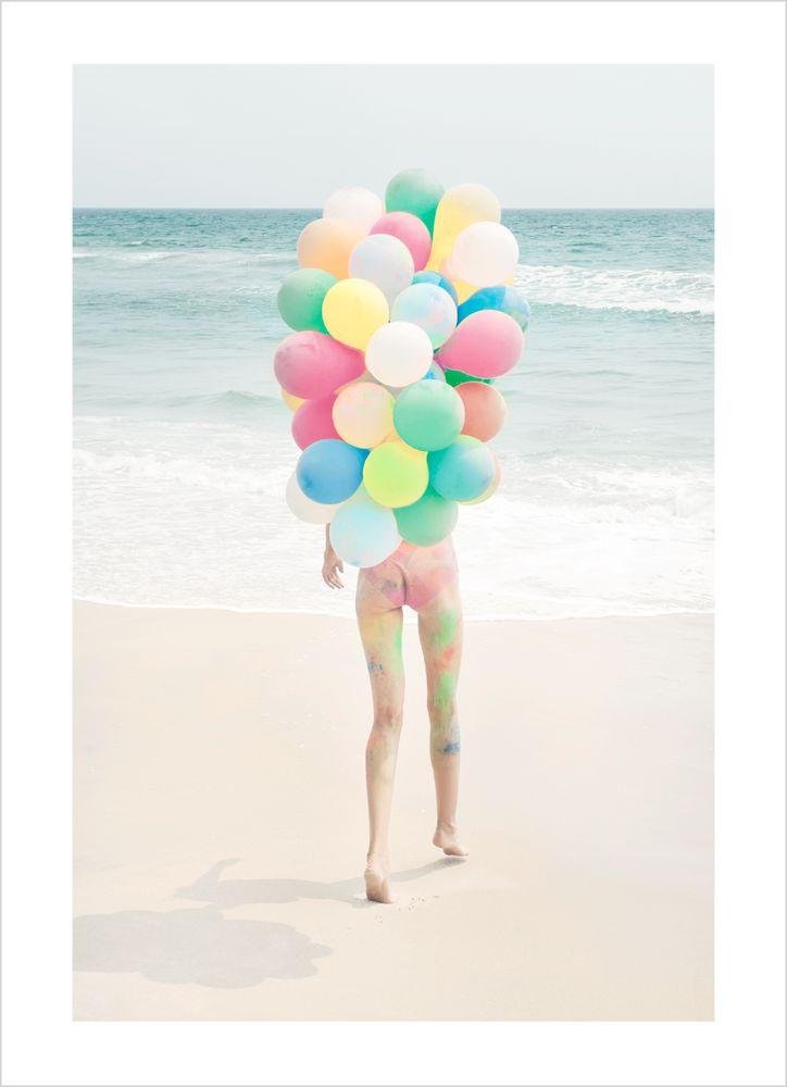 Ballonger på stranden poster