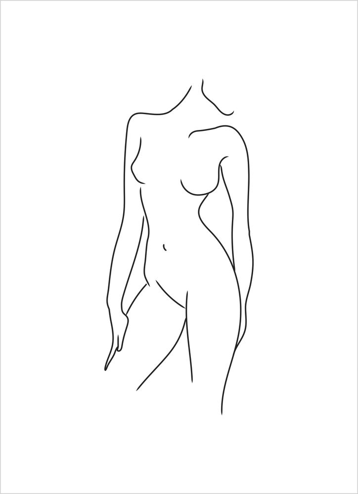 Woman body white poster