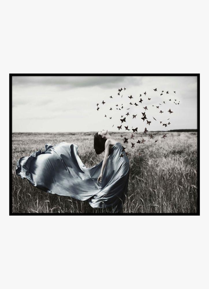 Kvinna med fjärilar poster