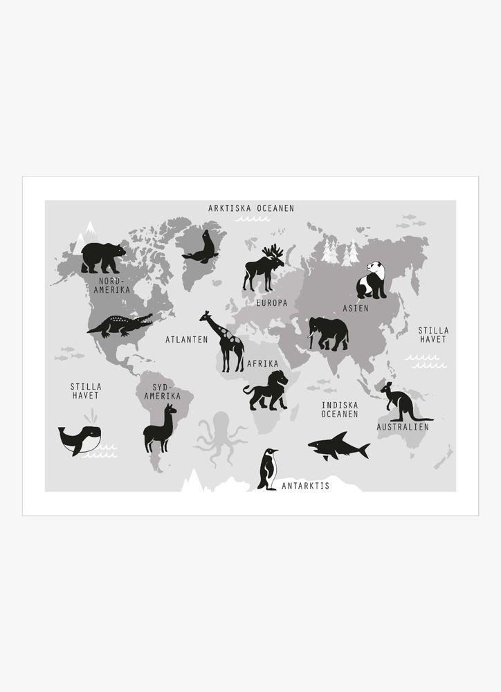 Världskarta retro svartvit poster