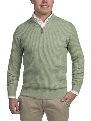 HALF ZIP MINI CABLE KNIT