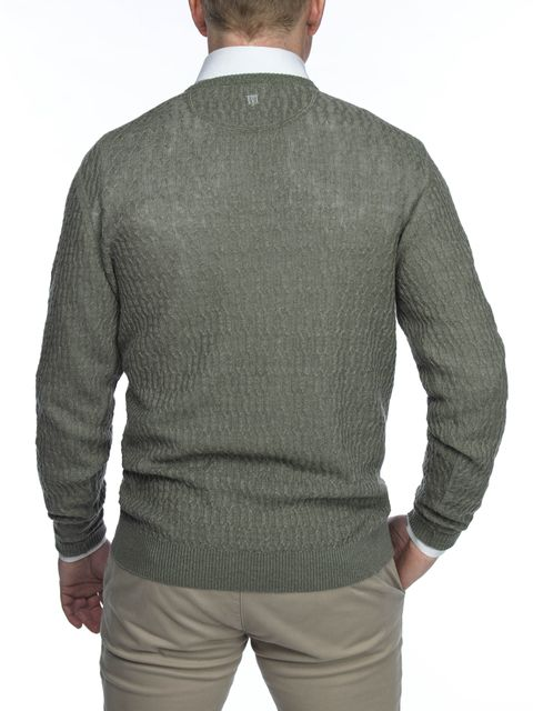 CREW NECK LINEN NEW CABLE KNIT
