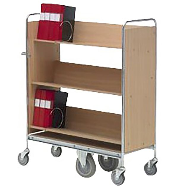 Filing trolley 3 shelves and support wheel system