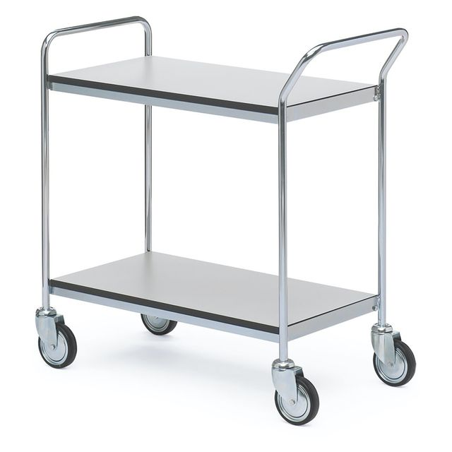 ESD table trolley with 1 handle + end 2 shelves