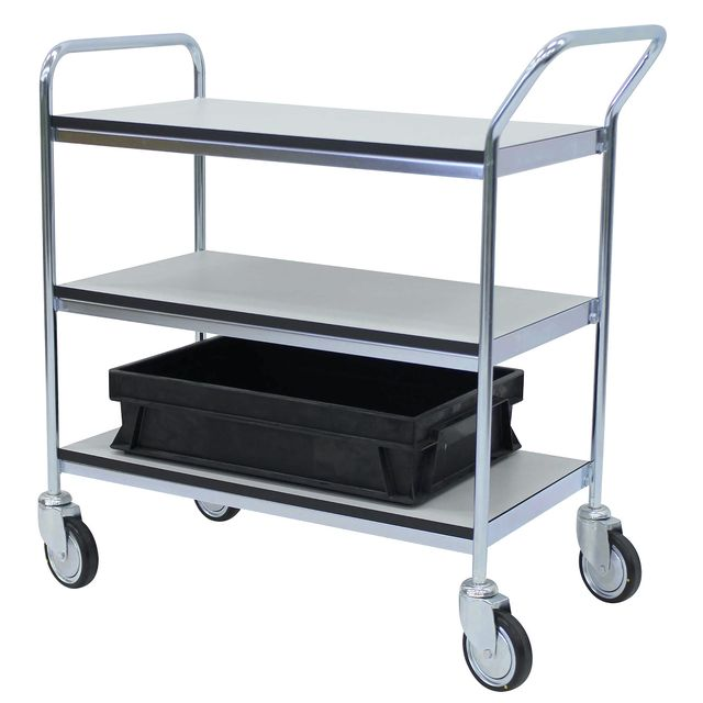 ESD table trolley with 1 handle + end 3 shelves