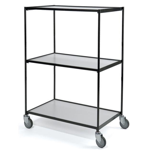 Shelf trolley black 3 shelves