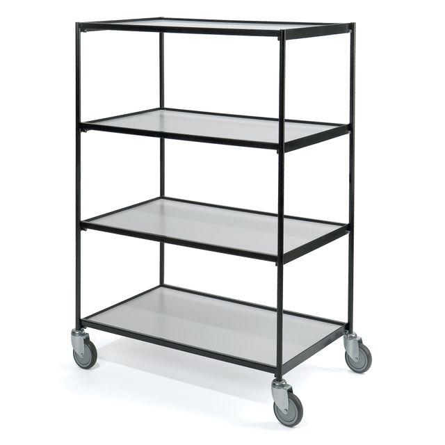 Shelf trolley black 4 shelves