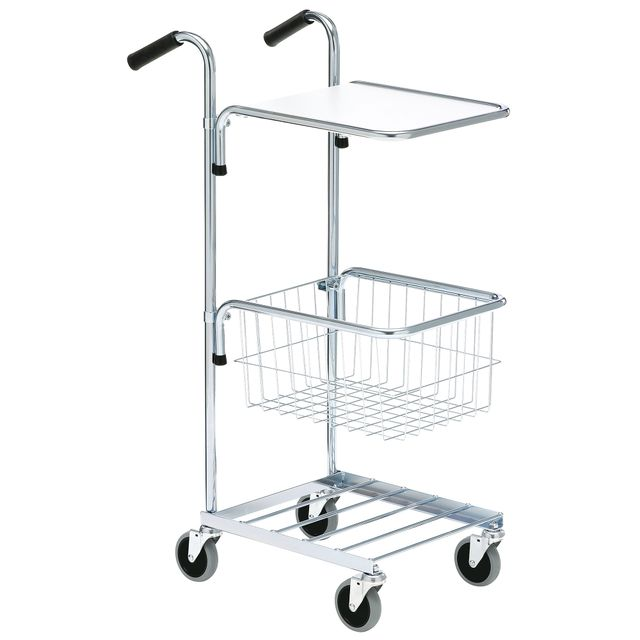 Mini trolley with shelf and basket