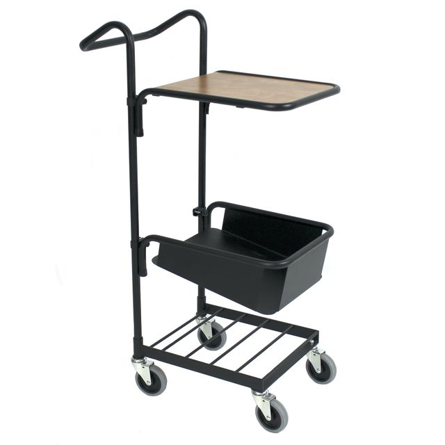 Black mini trolley with shelf and file shelf