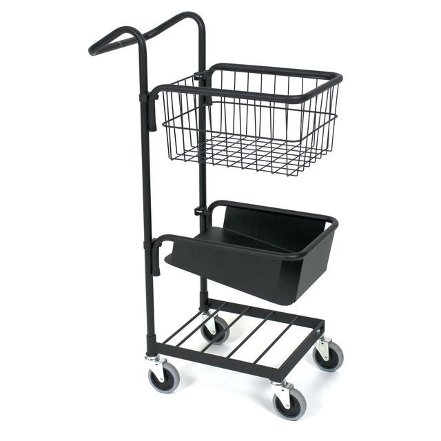 Black mini trolley with basket and file shelf