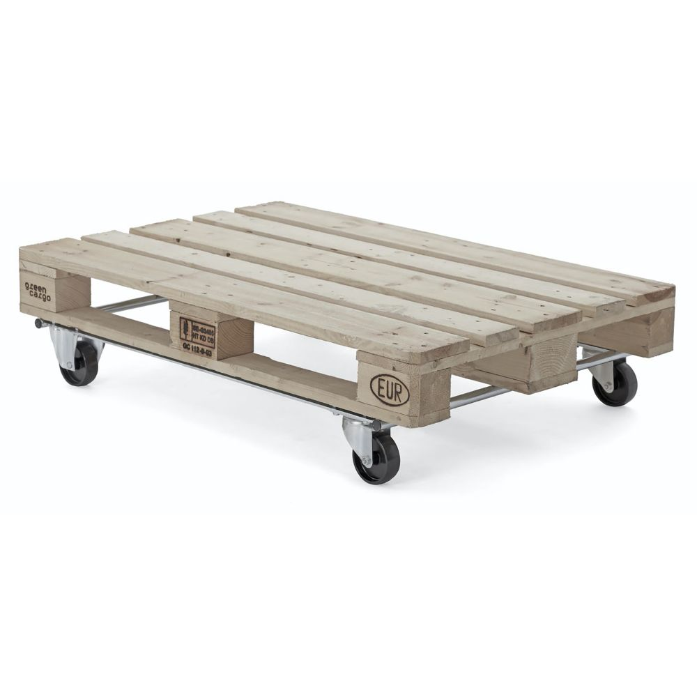 Pallet dolly with black swivel wheels