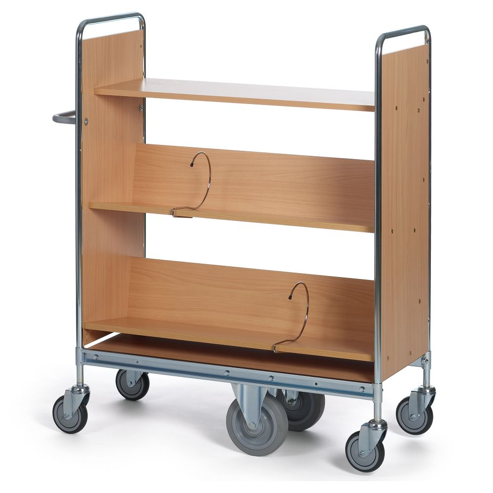 Filing trolley 2 shelves and support wheel system