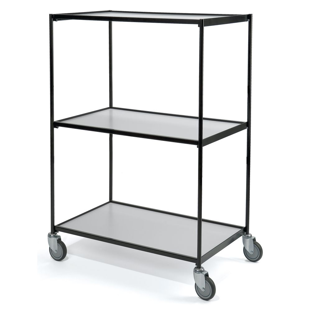 Shelf trolley black 3 shelves