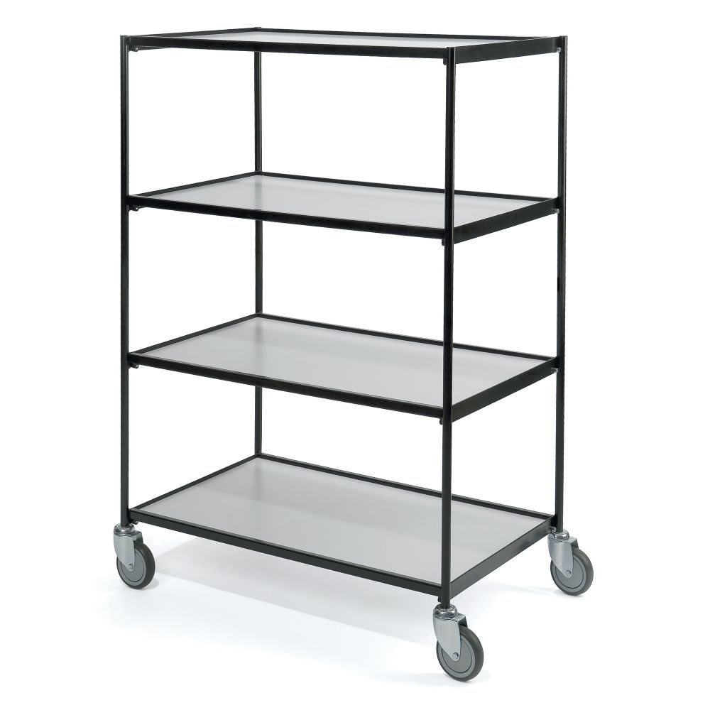 Shelf trolley black 4 shelves