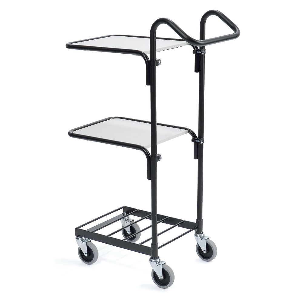 Black mini trolley with two shelves