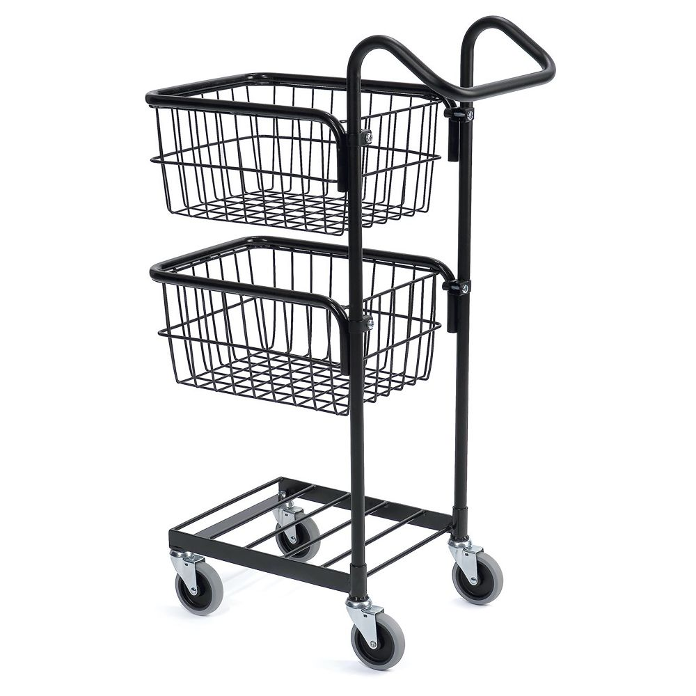 Black mini trolley with two baskets