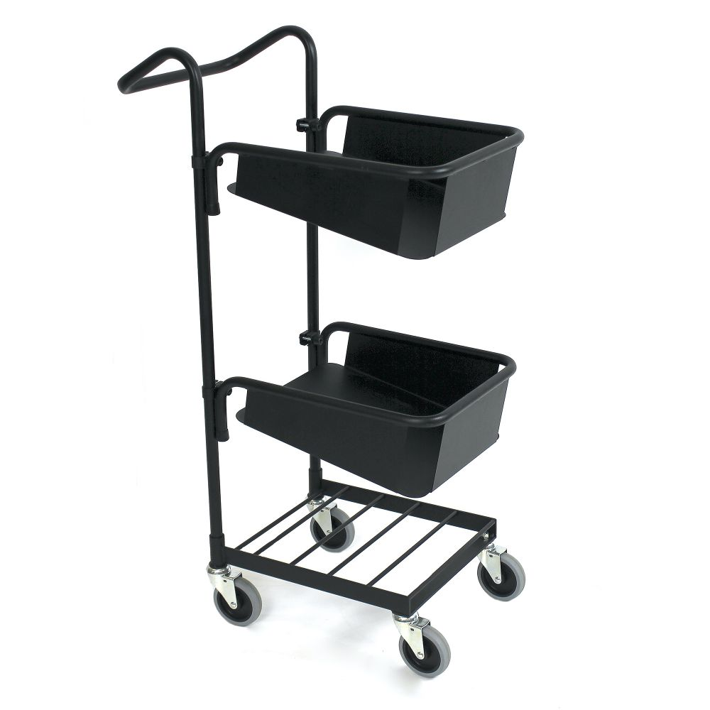 Black mini trolley with two file shelves