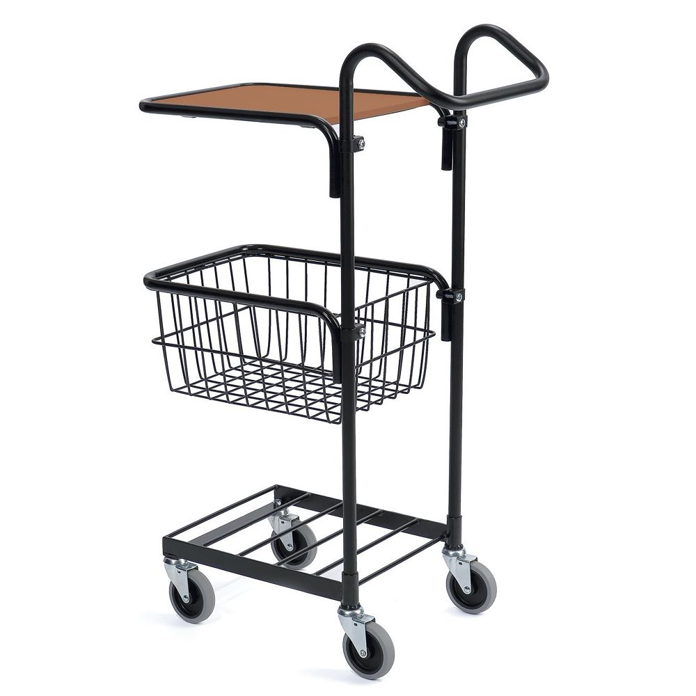 Black mini trolley with shelf and basket