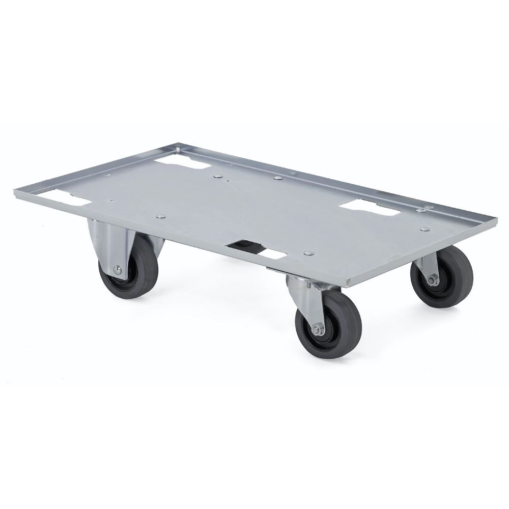 Sheet metal dolly with two swivel and two fixed wheels