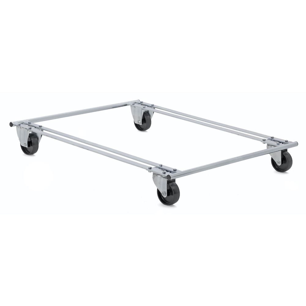 Pallet dolly with black wheels two swivel and two fixed