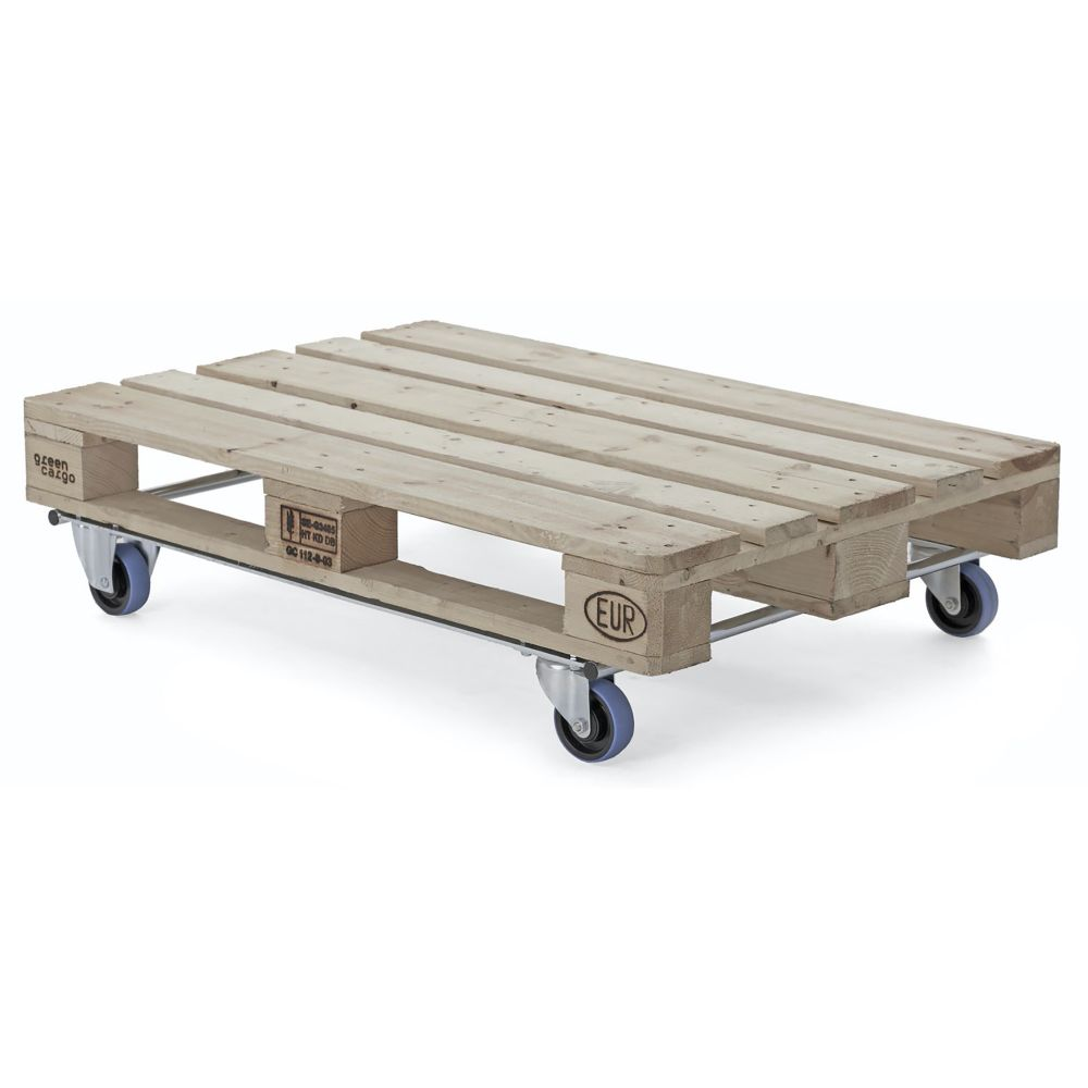 Pallet dolly with blue swivel wheels
