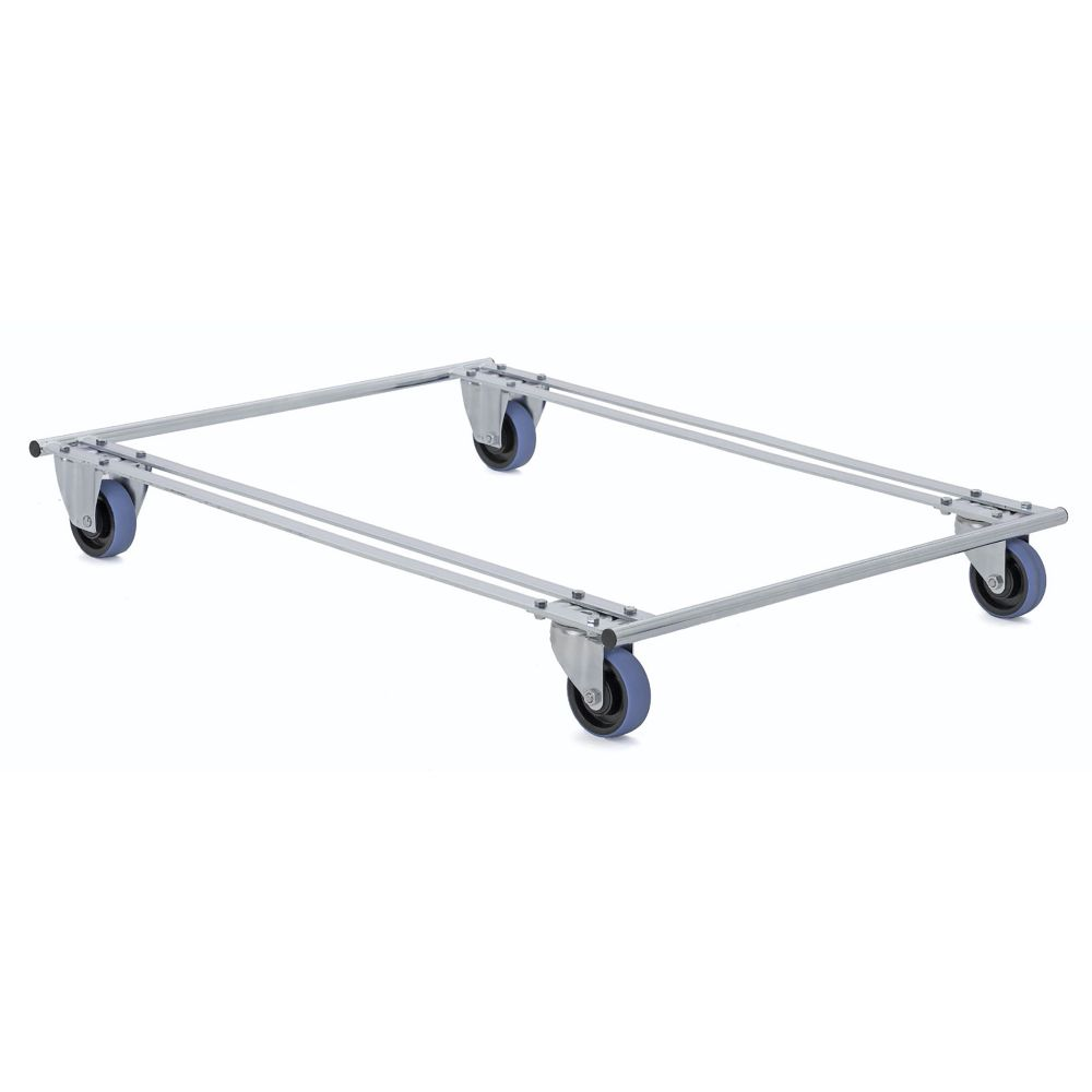Pallet dolly with blue wheels two swivel two fixed