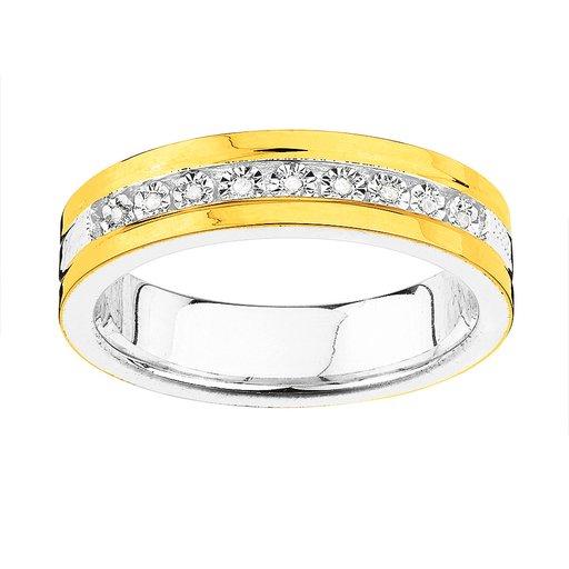 Ring i äkta silver och 18K guld