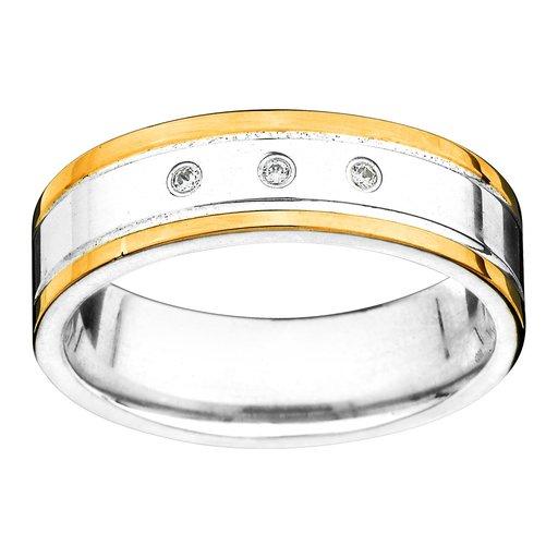 Förlovningsring i äkta silver och 18K guld
