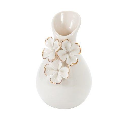 Vas porslin vit blomma