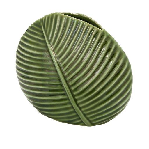 Vas grön blad i porslin
