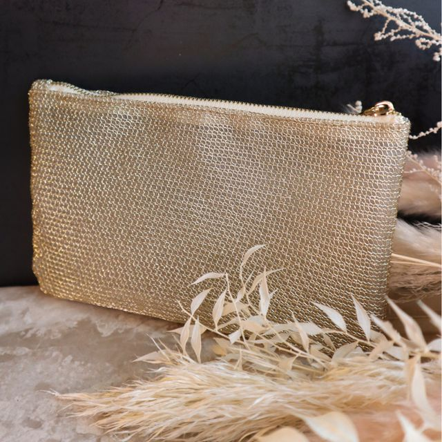 Golden Makeup Bag