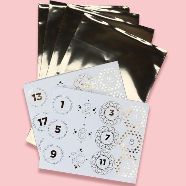 Kalenderposer og klistermerker - 24 stk.