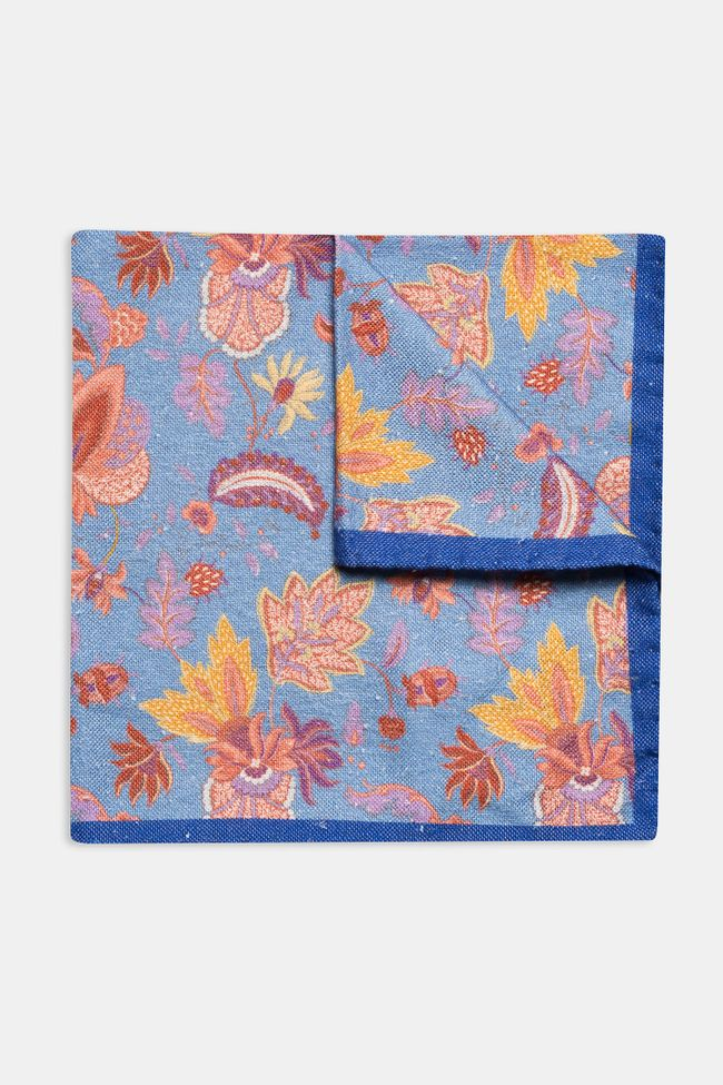 leaf patterned silk and cotton Handkerchief