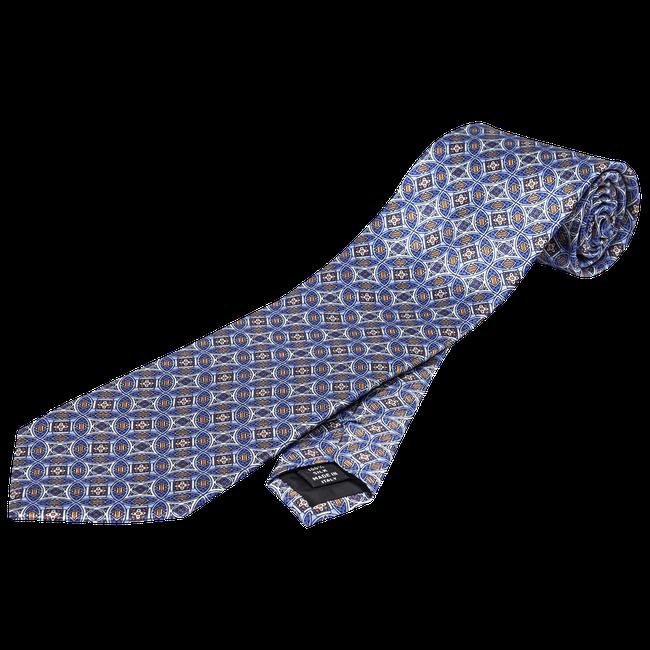Blue pattern silk tie