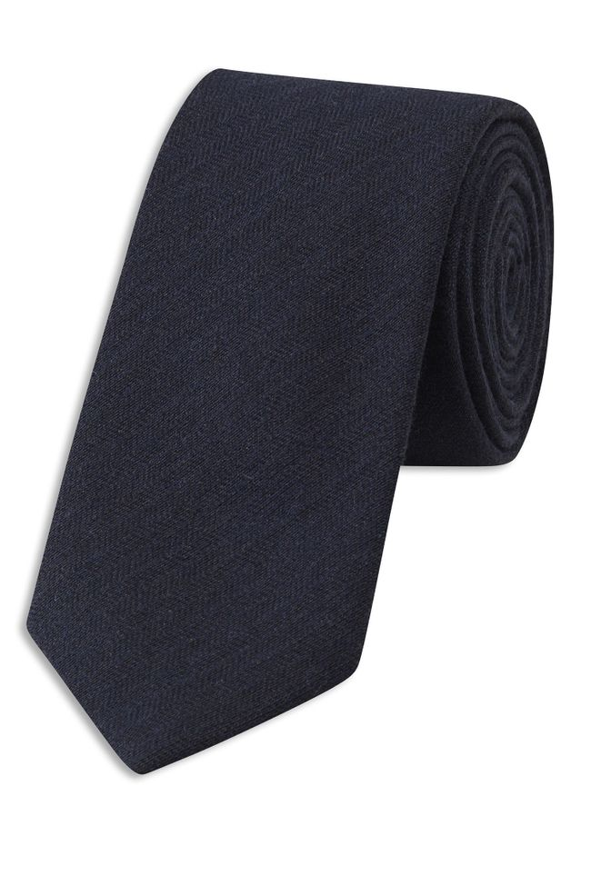 Herringbone patterned wool tie
