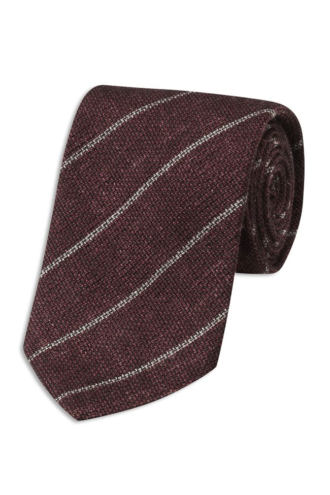 Striped wool and silk tie
