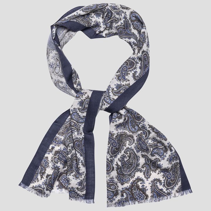 Paisley pattern silk and wool scarf