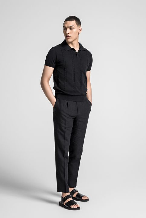 Silas cable knitted Poloshirt