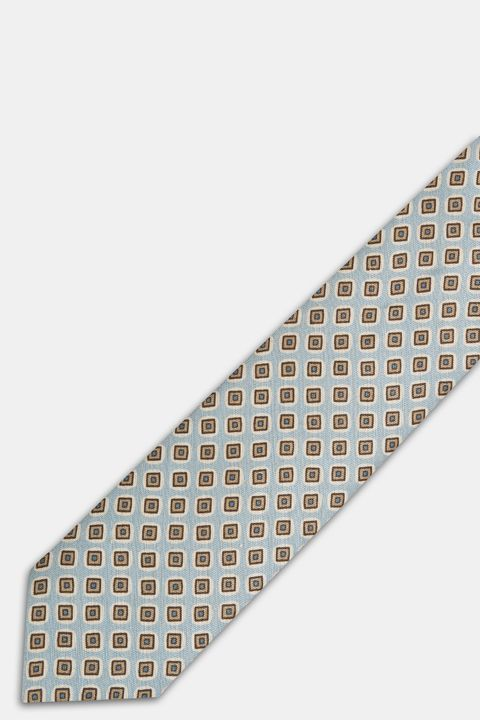 Patterned linen and silk tie