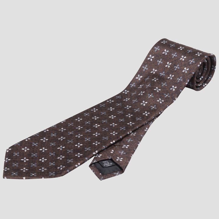 Patterned wool tie