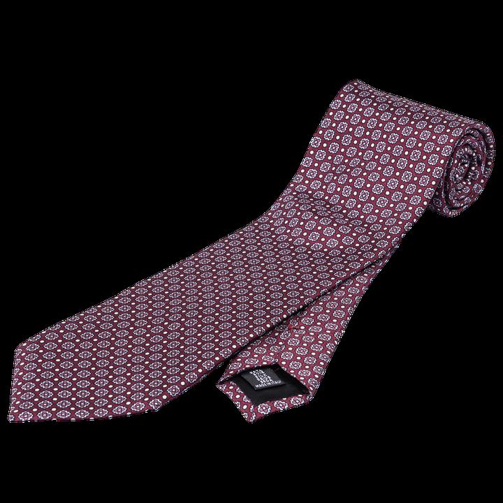 Medallion print silk tie