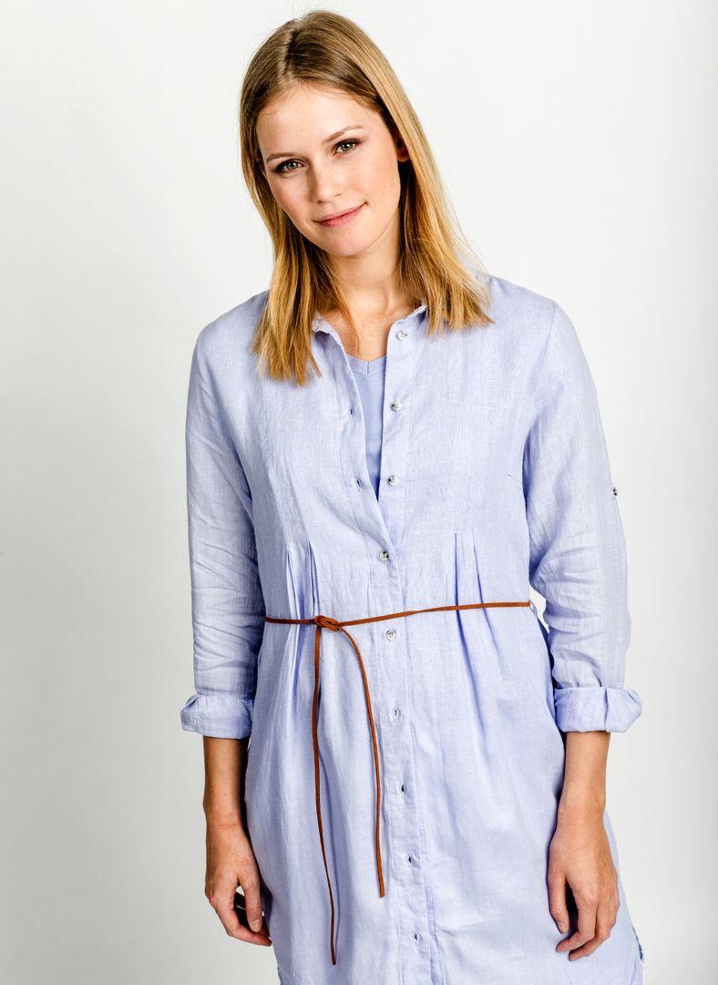 W Linen Pleat Shirt Dress